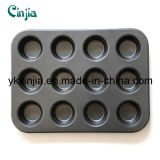 Kitchenware Carbon Steel 12 Cup Cake Pan for Oven Bakeware