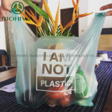 Wholesale Cheap 100% Compostable Biodegradable Die Cut Handle LDPE PE Custom Printed Shopping Plastic Bag with Own Logo