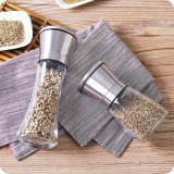Pepper Grinding Bottle Glass Seasoning Bottle with Stainless Lid