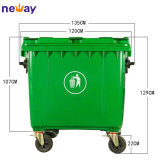 Outdoor Usage and Eco-Friendly Feature1100L Plastic Dustbin