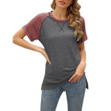 Custom Clothing Quality Womens Short Sleeve Dark Grey Tees Summer Ladies T Shirt