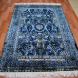 4X6 Blue Handmade Hand Knotted Persian Turkish Silk Carpet Wholesale Facotry Price
