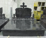 European Natural Stone Juparana Granite Double Tombstone with Flower Bed