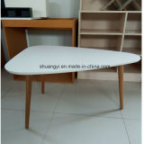 White Melamine Top Solid Leg Coffee Table with Round Edge