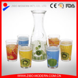 Wholesale 1 Liter Juice Glass Bottle with Drinking Glass Set