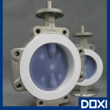 Teflon PTFE PFA FEP Lined/Lining/Coated/Seated Wafer Type Resilient Butterfly Valve for Corrosive Chemical Industry