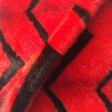 Red and Black Color Jacquard Faux Fur Plush for Garment, Cushion and Bag