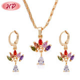 New Style 18K Gold Plated Wedding Jewelry Sets with Colorful Cubic Zirconia Cheap Necklace and Earring