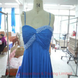 Sexy Blue Lace Evening Dress Final Random Inspection/ Pre-Shipment QC Quality Control Inspection in Panyu Factory