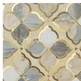 2020 New Arrival Art Patterns Water Jet with Gold Glass Mix Color Mosaic Decorative Kitchen for Wall and Floor Mosaic Tile