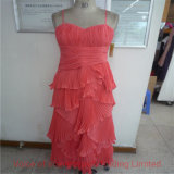 Red Silk Lady Dress Quality Check/ QC Final Random Inspection in Panyu Factory