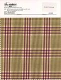 Fancy Poly Wool Fabric, Bird′s Check Design, Brown Background with Purple Checks