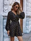 Women Party Ladies V-Neck Long Gold DOT Print Puff Sleeve Dresses