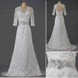 Long Sleeves V Neck Lace Princess Bridal Wedding Dresses Keyhole Back Beading Belt