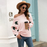 China Factory Wholesale Women′s Pullover One-Shoulder Lightning Print Long-Sleeved Sweater