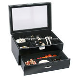 Glass Top Black Leather W/Drawer Jewelry Packaging Gift Box
