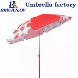 Creative Design Watermelon Printed Outdoor Tiltable Beach Umbrella with Red Pole