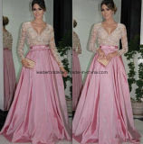 V-Neck Prom Party Gowns Pink A-Line Evening Formal Dress Z807