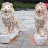 Garden Statue Carving Marble Lion Sculptures in Pairs (GSS-271)