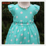 Tiffanly Green Polk DOT Fly Sleeve Kids Girls Dress for Summer