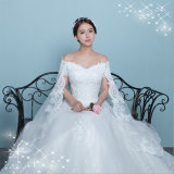 Elegant Lace Satin off-Shoulder Wedding Gown with Shawl (Dream-100045)