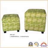 2-PC Upholstered Lift Top Linen Print Storage Ottoman Bench Wooden Trunk Living Room Furniture