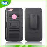 Rugged Hard 3 in 1 PC & TPU Hybrid Armor Protective Case for Apple iPhone 6 7 Plus S8 5.5 Inch Robot Armor Case with Ring Kickstand