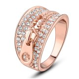 New Fashion Zipper Design Crystals 18K Gold Color Ring