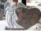 Aurora Granite Angel Design Tombstone/Headstone with Heart