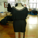 Beading Necklace Dress QC Assurance/ Final Random Inspection for Sexy Black Sequin Dress in Shanghai Factory