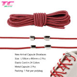 Morecredit Wholesale Colorful Fashion Elastic Polyester Shoelace with Metal Capsule