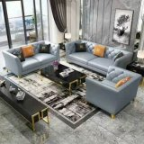 Light Luxury Modern Genuine Leather Sofa with Stainless Steel Frame (L02)