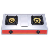 Two Burner Brass Burner Gas Stove with Stainless Steel Body