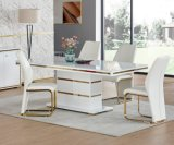 MDF Stainless Steel Dining Room Glass Dining Table Set and Chair Tempered Glass Desk Modern Home Furniture