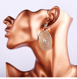 Facotry Flash Full Long Oval Rhinestone Pierced Earrings