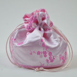 Jacquard Satin Drawstring Bag with Tassel Ribbon Customized