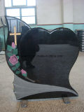 Black Granite Carving Headstone Monument with Single Heart