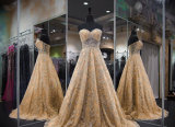 Strapless Gold Party Prom Dresses Sheer Corset Bridal Evening Dresses M40252