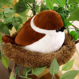 Sparrows Family Plush Toy Brown Bird Lifelike Tree Animals Stuffed Doll with Nest Kids Gift