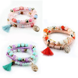 Handmade Beach Glass Crystal Beads Multilayer Bracelets with Tassel Charm
