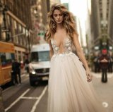 Beini Satin White Lace Bead Bridal Evening Gown Wedding Dress