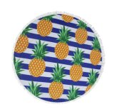 Round Beach Towel with Pineapple Pizza Hamburger Watermelon Designs
