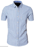 Men's Short Sleeve Cotton Slim Fit Shirt