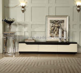 Metal Remote Controlled TV Stand with White Lacquer Wooden Drawer