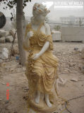 White/Beige/Gold Marble Statue, Figure Sculpture, Stone Carving
