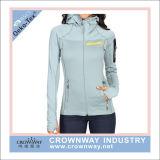 Knitted Fitness Hoody Fleece Jacket Women Sportswear with Thumb Hole