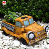 Durable Hot Sale Resin Crafts Solar Light Truck Shape Planter