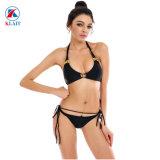 Customize Women Sexy Lace up Hot Push up Jewelry Black Seamless Triangle Bikini Set