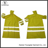 Hi Vis Long Raincoat Waterproof PVC Yellow Reflective Safety Jacket
