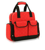 Leisure Multifunction Polyester Red Color Diaper Backpack Bag for Mummy/Ladies/Women